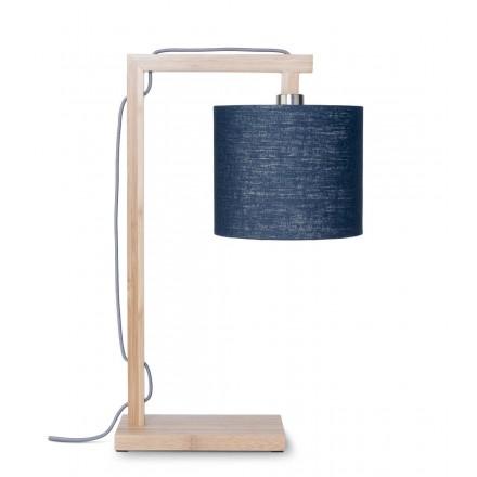 Lampada da tavolo Bamboo e paralume di lino ecologico himalaya (jeans naturali e blu)