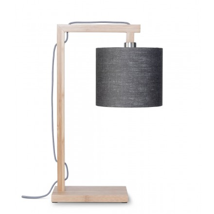 Lámpara de mesa de bambú y lámpara de lino ecológico himalaya (natural, gris oscuro)