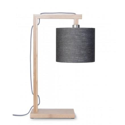 Lampe de table en bambou et abat-jour lin écologique HIMALAYA (naturel, gris foncé)