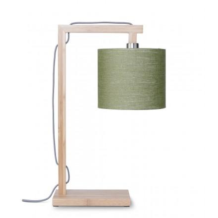 Lampe de table en bambou et abat-jour lin écologique HIMALAYA (naturel, vert foncé)