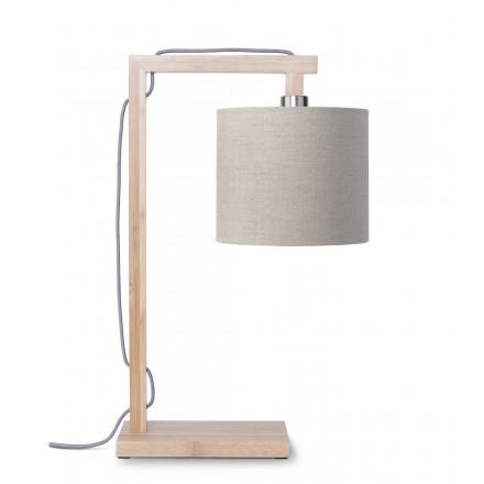 Bamboo table lamp and himalaya ecological linen lamp (natural, dark linen)