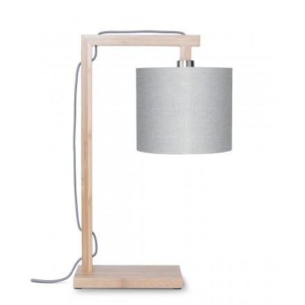 Lampe de table en bambou et abat-jour lin écologique HIMALAYA (naturel, gris clair)