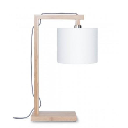 Bambus Tischlampe und himalaya ökologische Leinen Lampenschirm (natürlich, weiß)