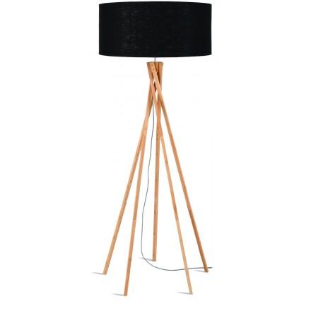 Lampada in piedi in bambù e paralume di lino eco-friendly KILIMANJARO (naturale, nero)