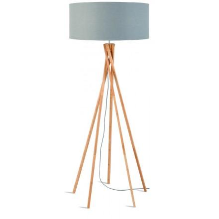 Lampe sur pied en bambou et abat-jour lin écologique KILIMANJARO (naturel, gris clair)