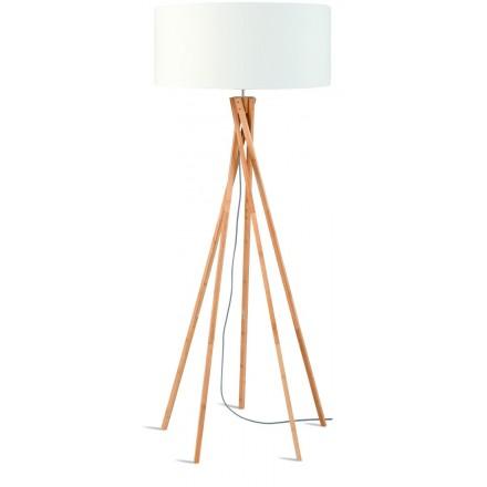 Lampe sur pied en bambou et abat-jour lin écologique KILIMANJARO (naturel, blanc)