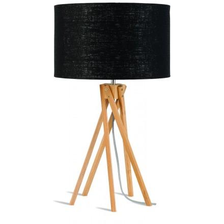 Bamboo table lamp and KILIMANJARO eco-friendly linen lamp (natural, black)