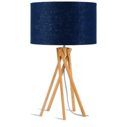 Bamboo table lamp and KILIMANJARO eco-friendly linen lampshade (natural, blue jeans)