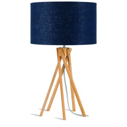 Bambus Tischleuchte und KILIMANJARO umweltfreundlichlen Leinen Lampenschirm (natürliche, blaue Jeans)
