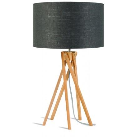 Lampe de table en bambou et abat-jour lin écologique KILIMANJARO (naturel, gris foncé)