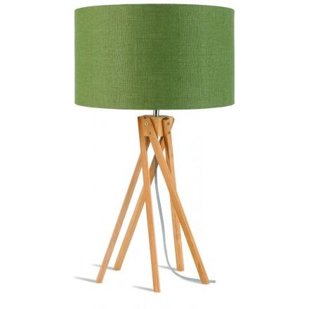 Lámpara de mesa de bambú y lámpara de lino ecológica KILIMANJARO (natural, verde oscuro)