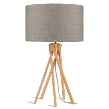 Lampe de table en bambou et abat-jour lin écologique KILIMANJARO (naturel, lin foncé)