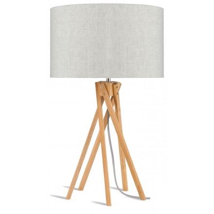 Lámpara de mesa de bambú y lámpara de lino ecológica KILIMANJARO (natural, lino claro)