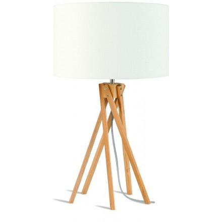 Lampe de table en bambou et abat-jour lin écologique KILIMANJARO (naturel, blanc)