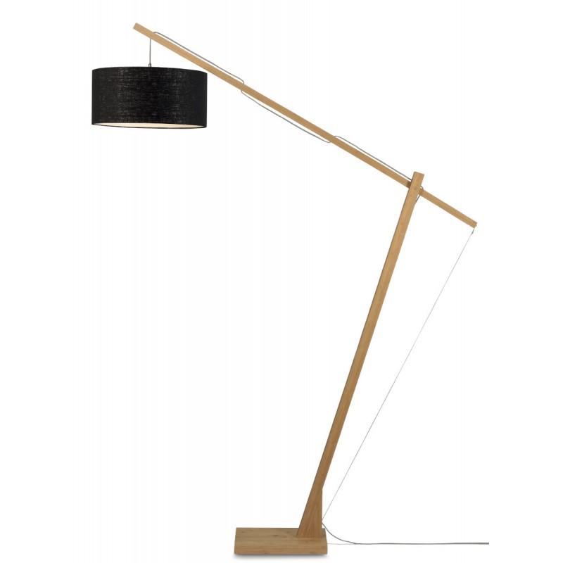 Lampe sur pied en bambou et abat-jour lin écologique MONTBLANC (naturel, noir) - image 44865