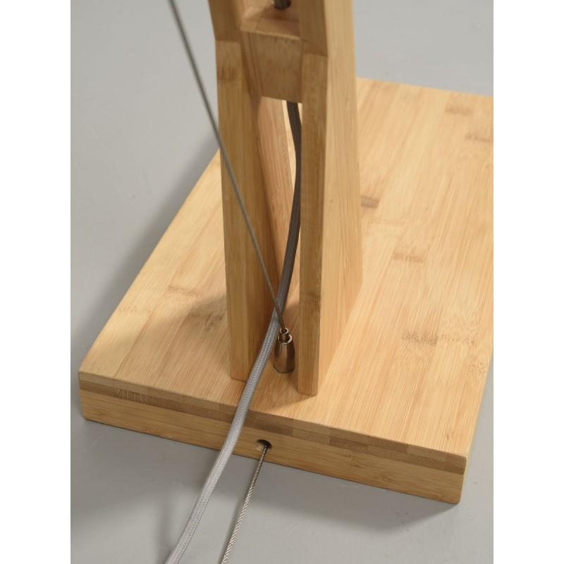 Lampe sur pied en bambou et abat-jour lin écologique MONTBLANC (naturel, noir) - image 44871