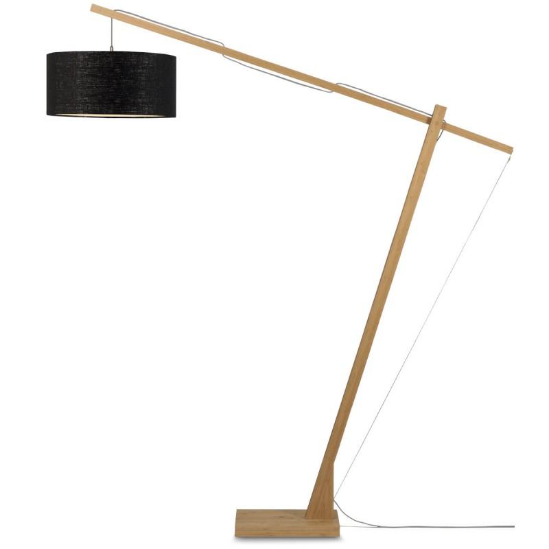 Lampe sur pied en bambou et abat-jour lin écologique MONTBLANC (naturel, noir) - image 44876