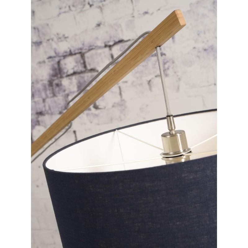 Lampe sur pied en bambou et abat-jour lin écologique MONTBLANC (naturel, bleu jeans) - image 44884