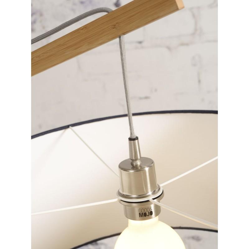 Lampe sur pied en bambou et abat-jour lin écologique MONTBLANC (naturel, bleu jeans) - image 44885