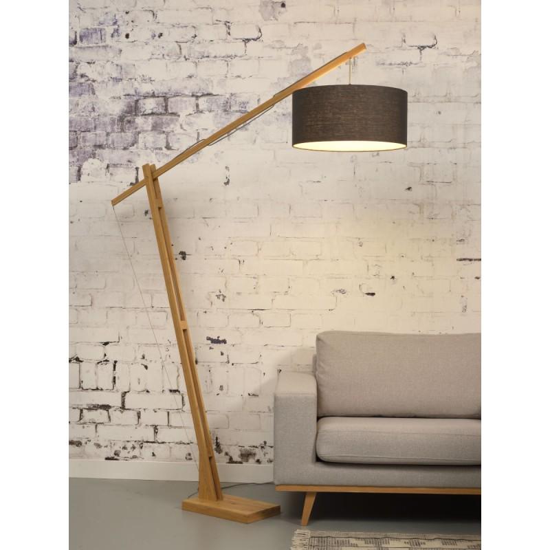 Lampe sur pied en bambou et abat-jour lin écologique MONTBLANC (naturel, gris foncé) - image 44890