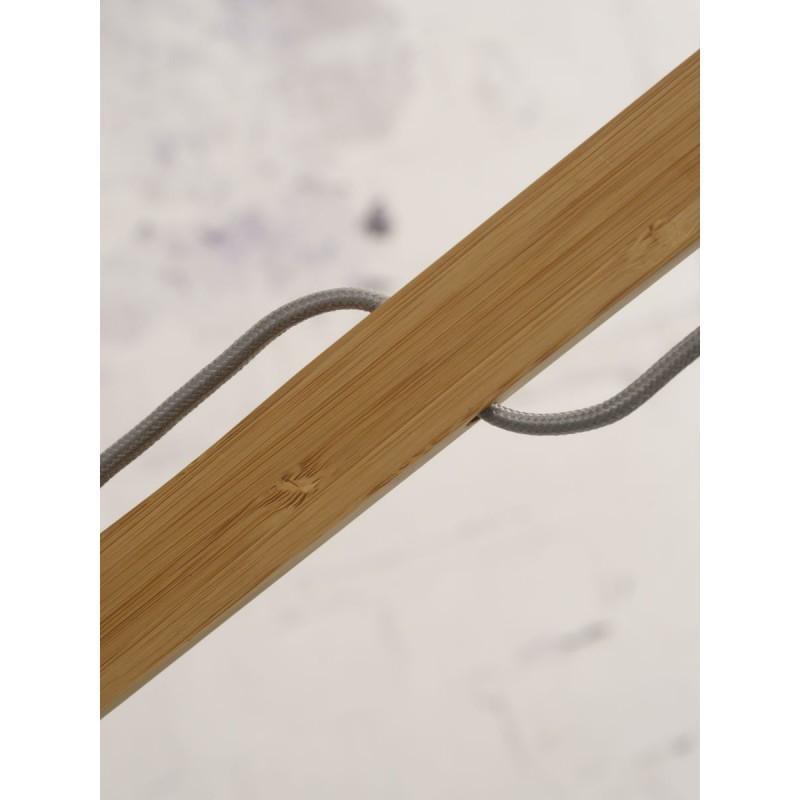 Lampe sur pied en bambou et abat-jour lin écologique MONTBLANC (naturel, vert foncé) - image 44904