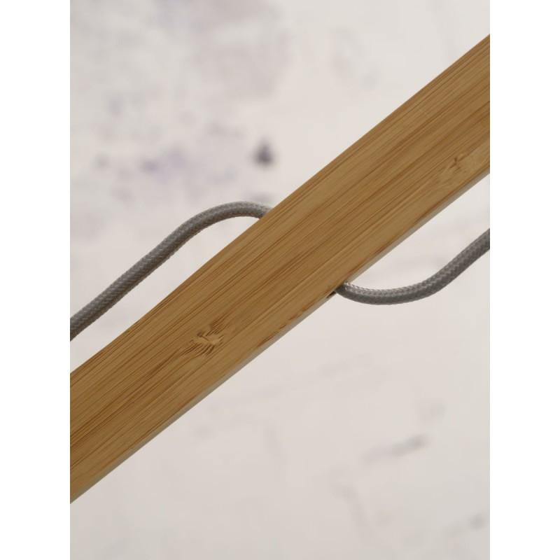 Lampe sur pied en bambou et abat-jour lin écologique MONTBLANC (naturel, lin foncé) - image 44916