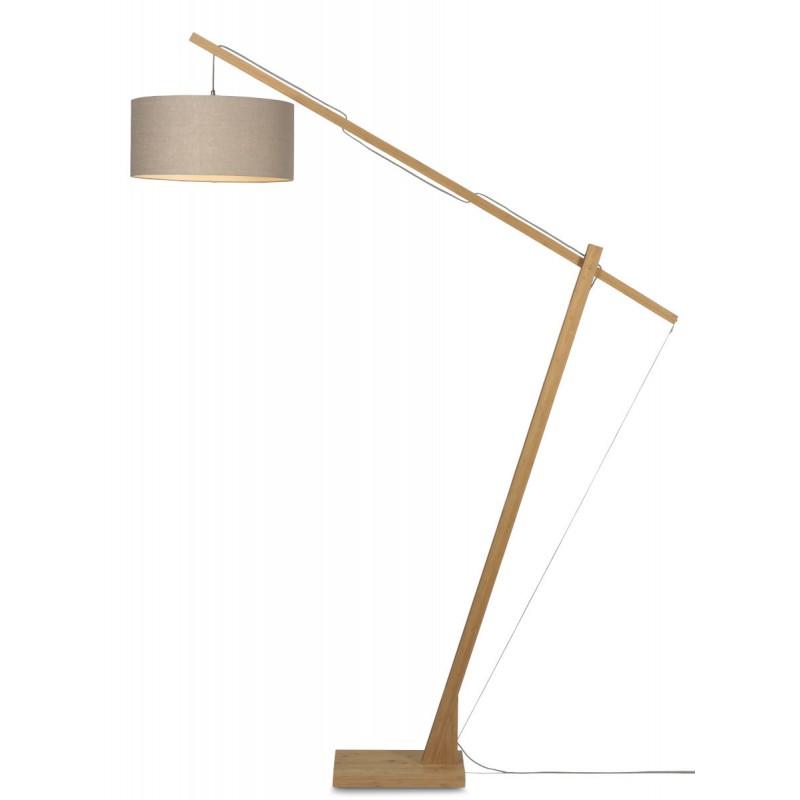 Lampe sur pied en bambou et abat-jour lin écologique MONTBLANC (naturel, lin foncé) - image 44925