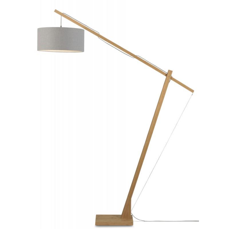 Lampe sur pied en bambou et abat-jour lin écologique MONTBLANC (naturel, gris clair) - image 44926