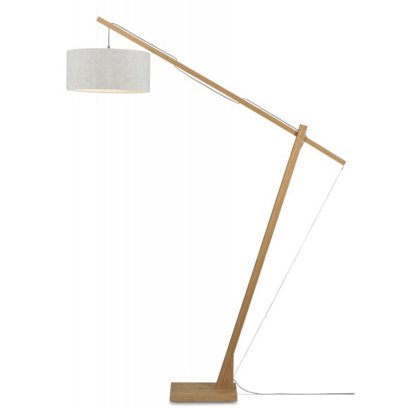 MontBLANC green linen standing lamp and linen lampshade (natural, light linen)