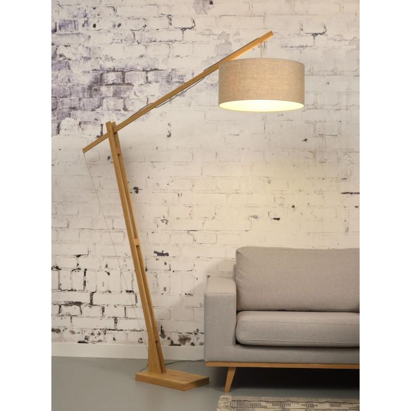 Lampe sur pied en bambou et abat-jour lin écologique MONTBLANC (naturel, lin clair) - image 44939