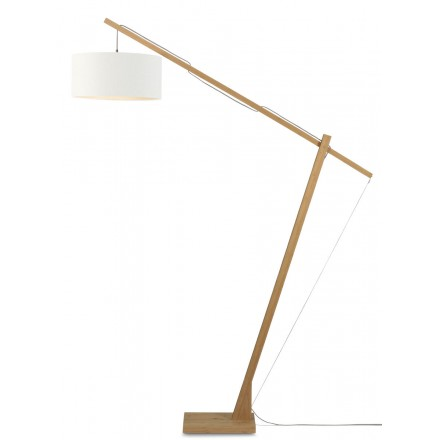 Lampe sur pied en bambou et abat-jour lin écologique MONTBLANC (naturel, blanc)