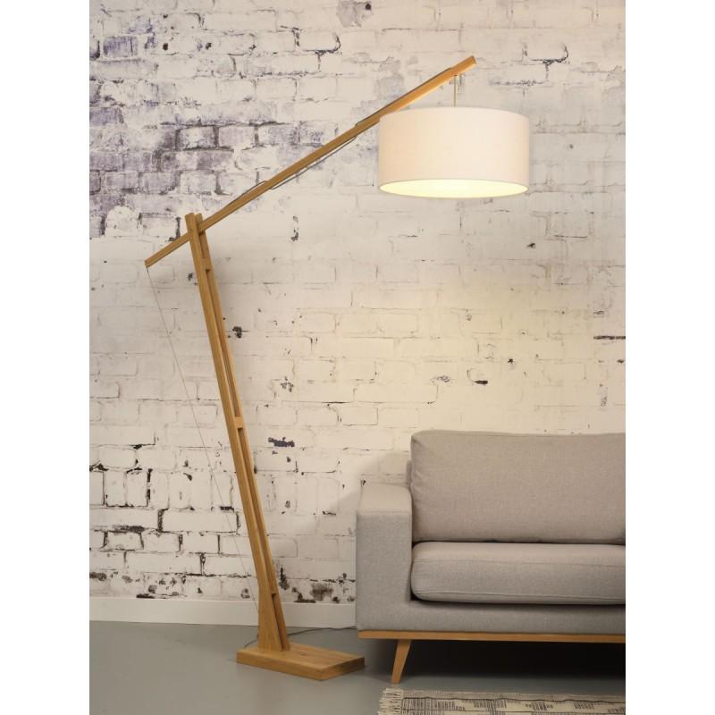 Lámpara de pie de bambú y pantalla de lino ecológica MONTBLANC (natural, blanca) - image 44951