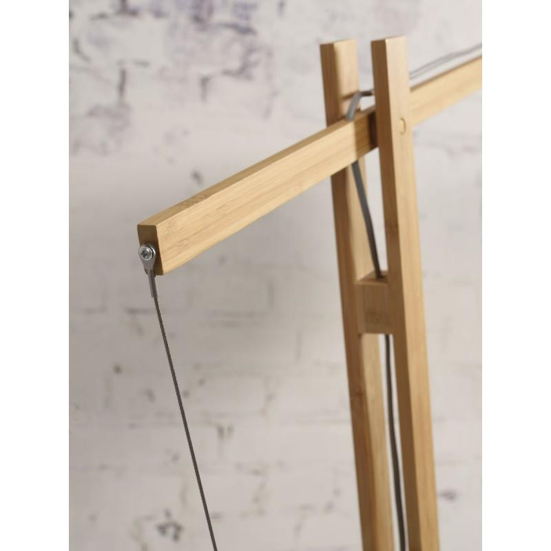 Lampe sur pied en bambou et abat-jour lin écologique MONTBLANC (naturel, blanc) - image 44954