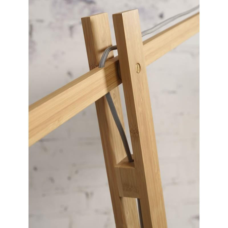 Lampe sur pied en bambou et abat-jour lin écologique MONTBLANC (naturel, blanc) - image 44955