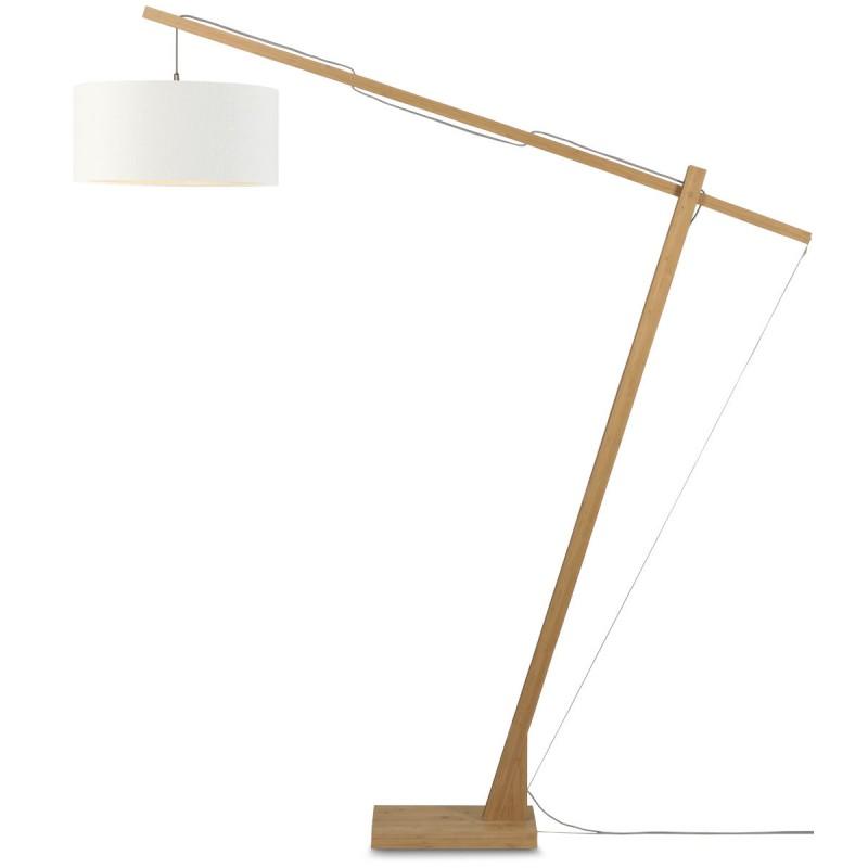 Lampe sur pied en bambou et abat-jour lin écologique MONTBLANC (naturel, blanc) - image 44961