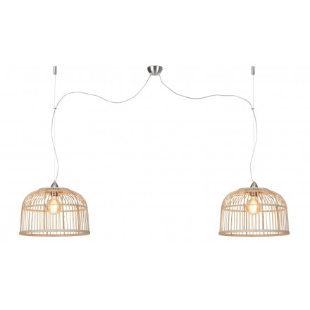 Bamboo suspension lamp BORNEO SMALL 2 lampshades (natural)