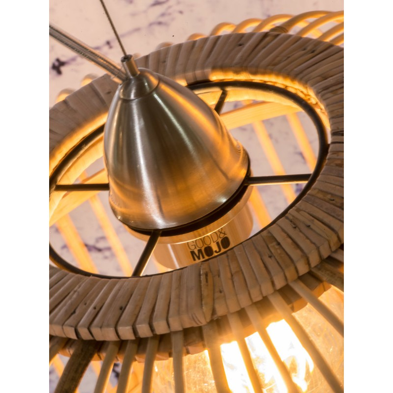 Lámpara de suspensión de bambú BORNEO SMALL 2 pantallas (natural) - image 45069