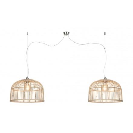 Lampe à suspension en bambou BORNEO XL 2 abat-jours (naturel)