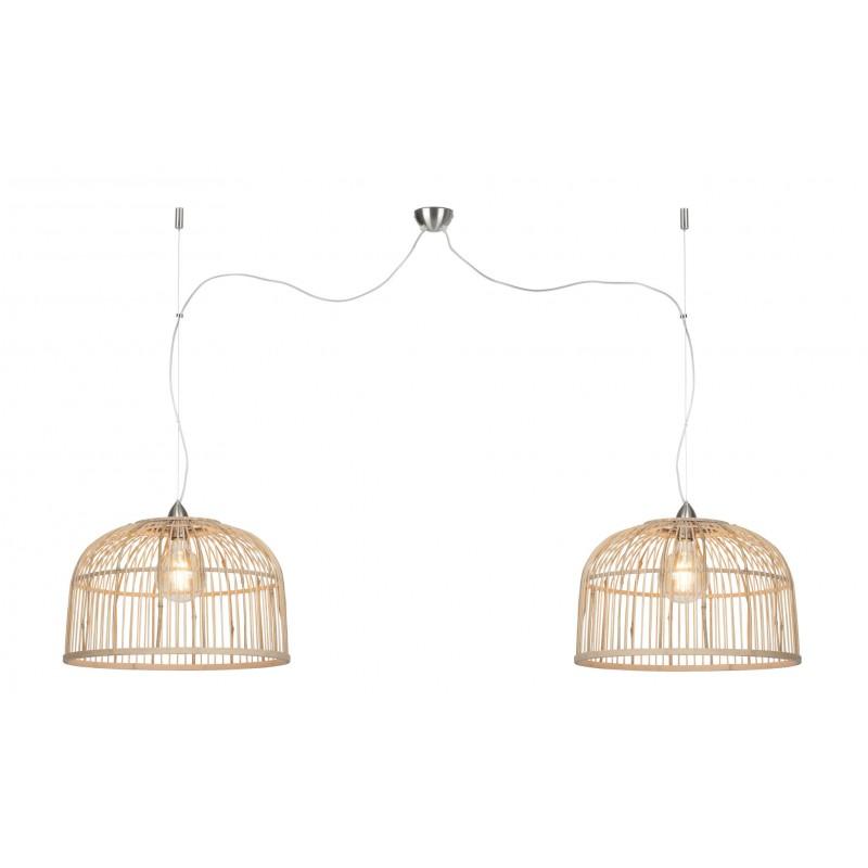 BAMBOO lampada sospensione BORNEO XL 2 paralumi (naturale) - image 45084