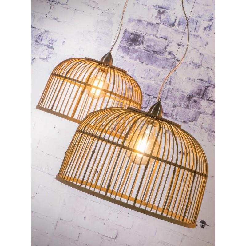 BAMBOO lampada sospensione BORNEO XL 2 paralumi (naturale) - image 45085