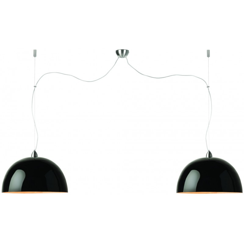 HALONG Bamboo Hängeleuchte 2 Lampenschirme (schwarz)