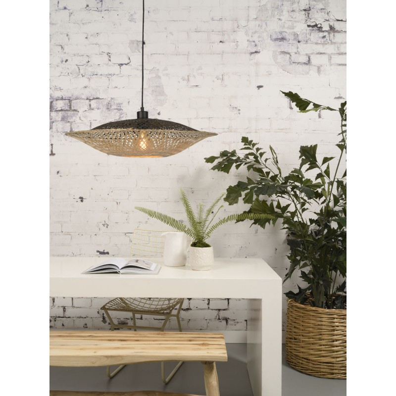 KALIMANTAN SMALL bamboo suspension lamp (natural, black) - image 45222