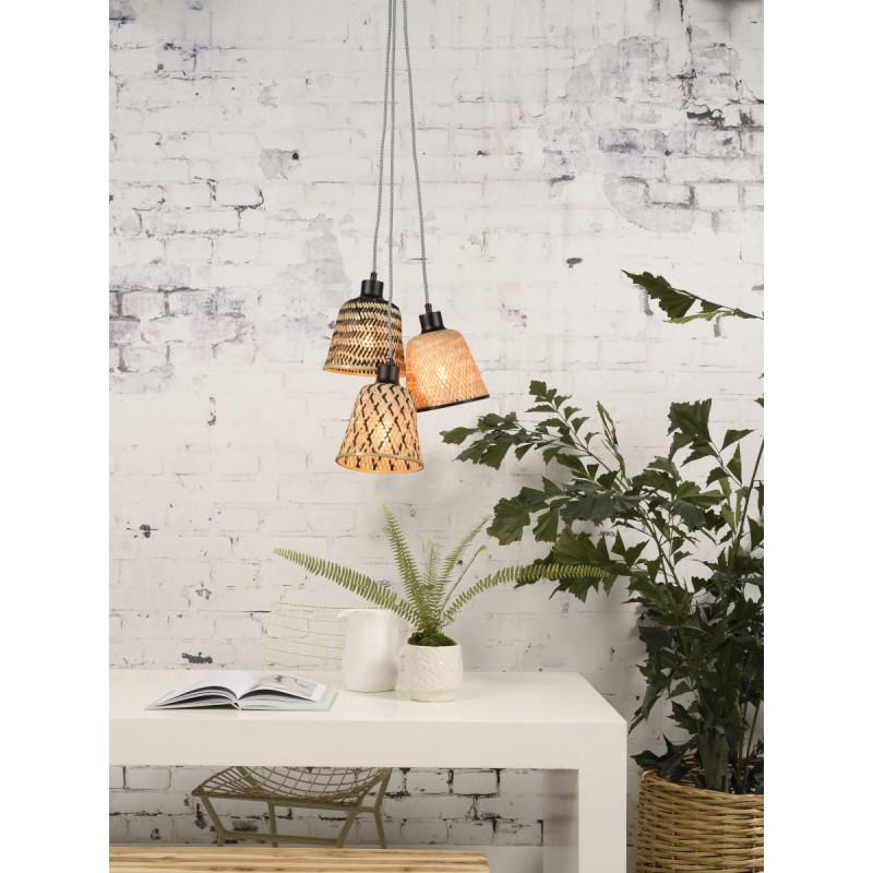 KaliMANTAN lámpara de suspensión de bambú 3 pantallas (natural, negro) - image 45245