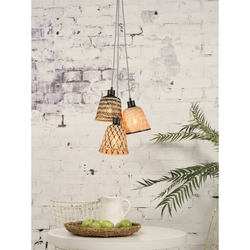 KALIMANTAN bambù sospensione lampada 3 paralumi (naturale, nero) - image 45247