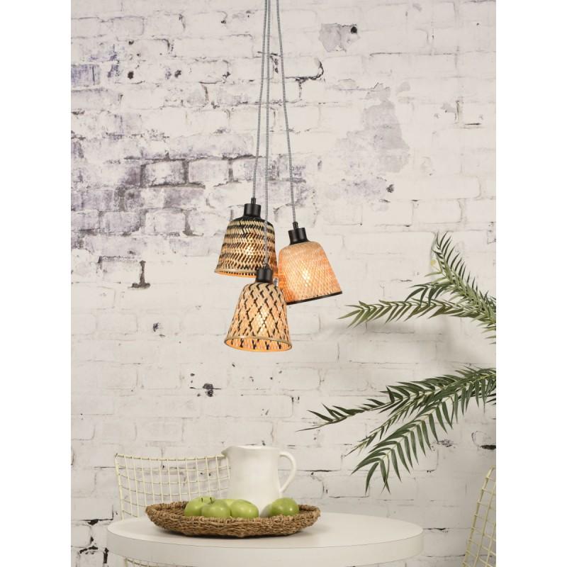 KaliMANTAN lámpara de suspensión de bambú 3 pantallas (natural, negro) - image 45247