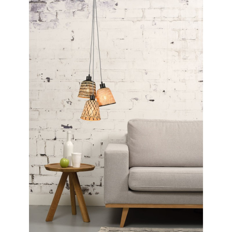 KaliMANTAN lámpara de suspensión de bambú 3 pantallas (natural, negro) - image 45248