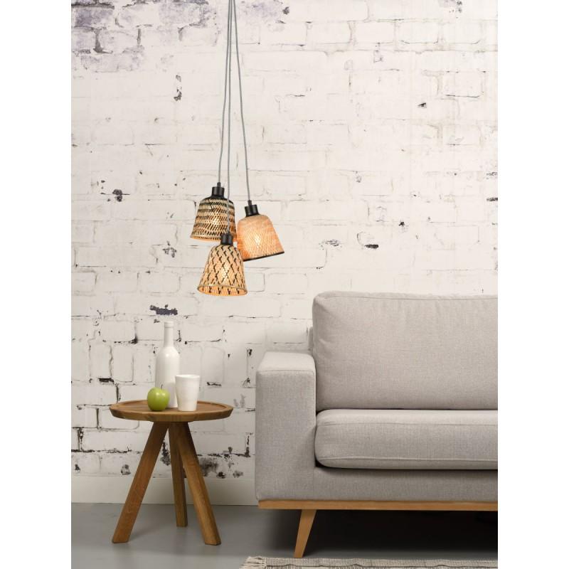 Lampe à suspension en bambou KALIMANTAN 3 abat-jours (naturel, noir) - image 45248