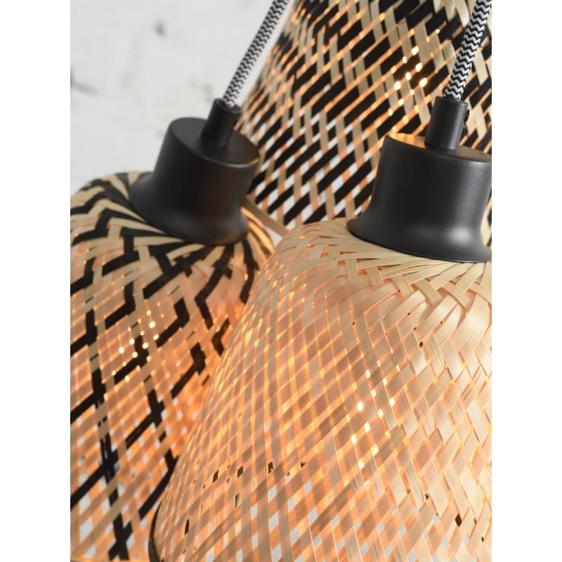 KaliMANTAN lámpara de suspensión de bambú 3 pantallas (natural, negro) - image 45252