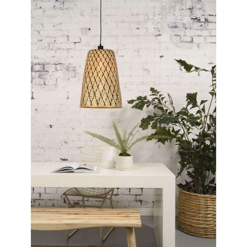 Lámpara de suspensión de bambú KALIMANTAN H48 (natural, negro) - image 45256