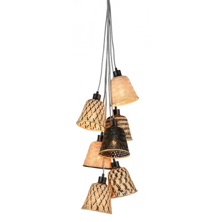 KaliMANTAN 7 bamboo suspension lamp lamp shade (natural, black)